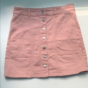 Pink Altar'd State Button Up Jean Skirt (stretchy)
